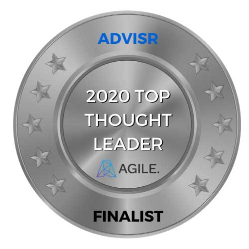 2020 top thought leader medal from Advisr
